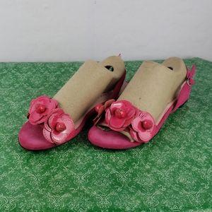TARYN ROSE Ida Suede Flower Sandal, Flash Pink